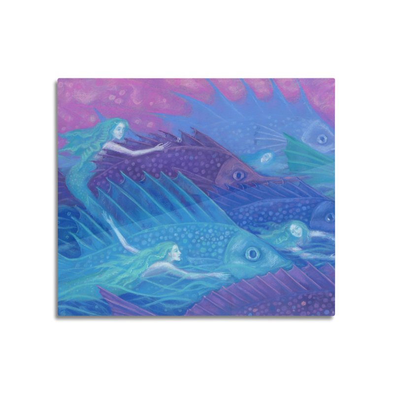 Ocean Nomads, Nautical Fantasy, Mermaids & Fishes, Pink Blue Purple Home Mounted Aluminum Print by Clipso-Callipso
