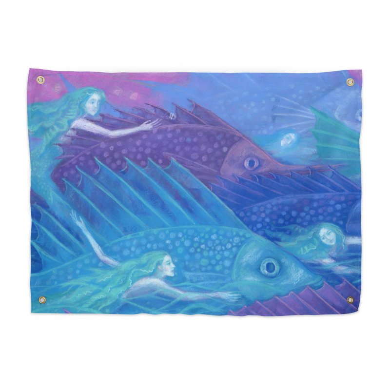 Ocean Nomads, Nautical Fantasy, Mermaids & Fishes, Pink Blue Purple Home Tapestry by Clipso-Callipso