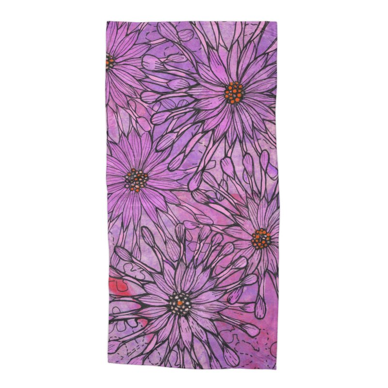 African Daisy, Pink Flowers, Tropical Floral Accessories Beach Towel by Clipso-Callipso