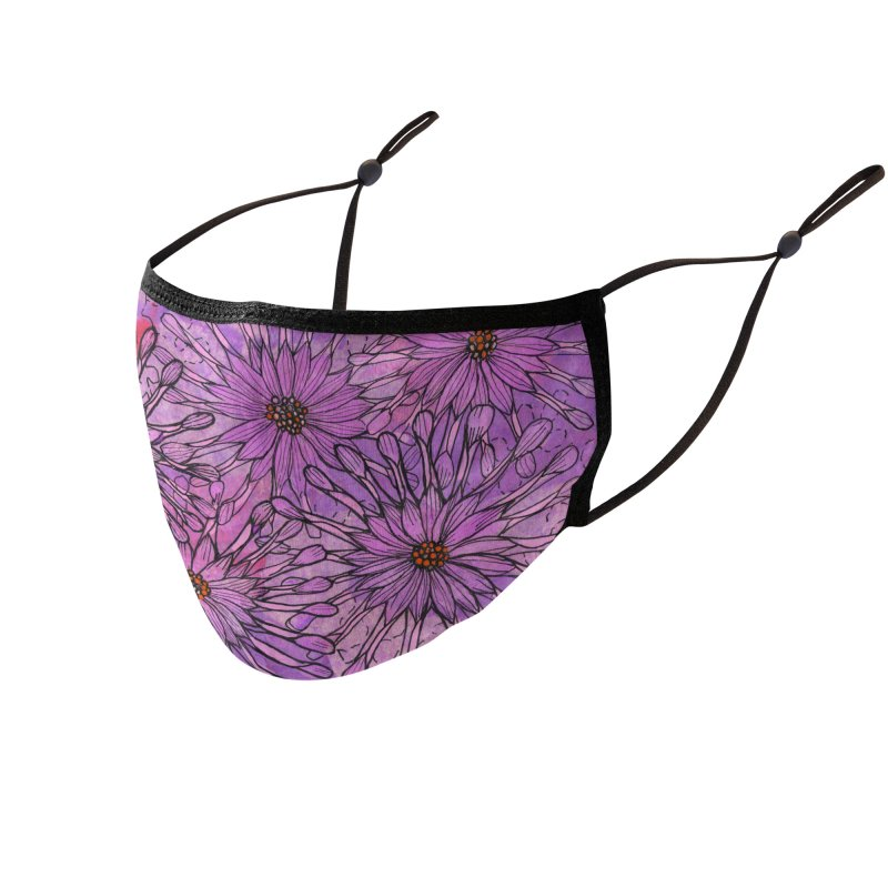 African Daisy, Pink Flowers, Tropical Floral Accessories Face Mask by Clipso-Callipso