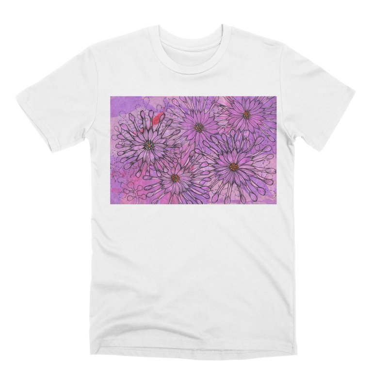 African Daisy, Pink Flowers, Tropical Floral Men's T-Shirt by Clipso-Callipso
