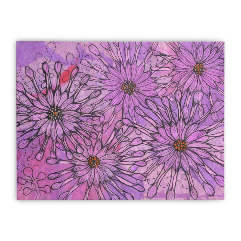 African Daisy, Pink Flowers, Tropical Floral Home Stretched Canvas by Clipso-Callipso