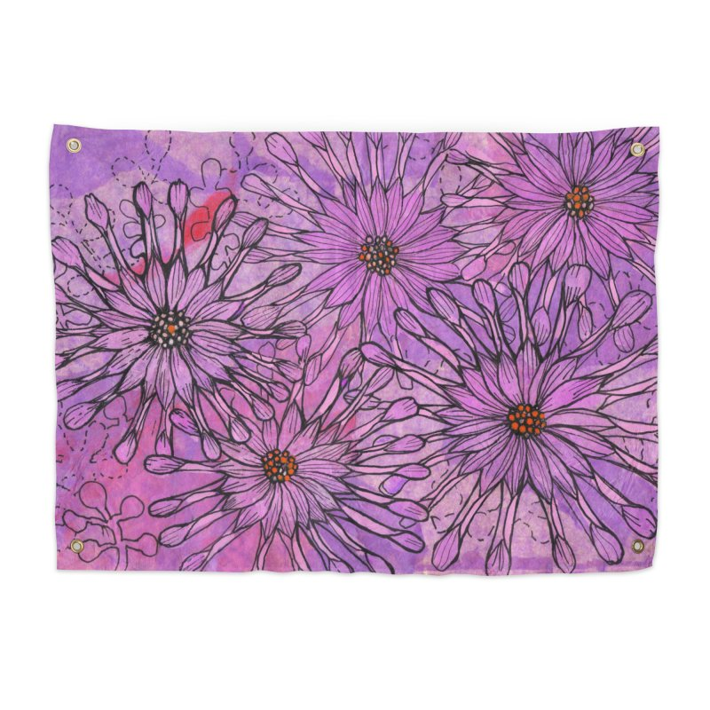 African Daisy, Pink Flowers, Tropical Floral Home Tapestry by Clipso-Callipso