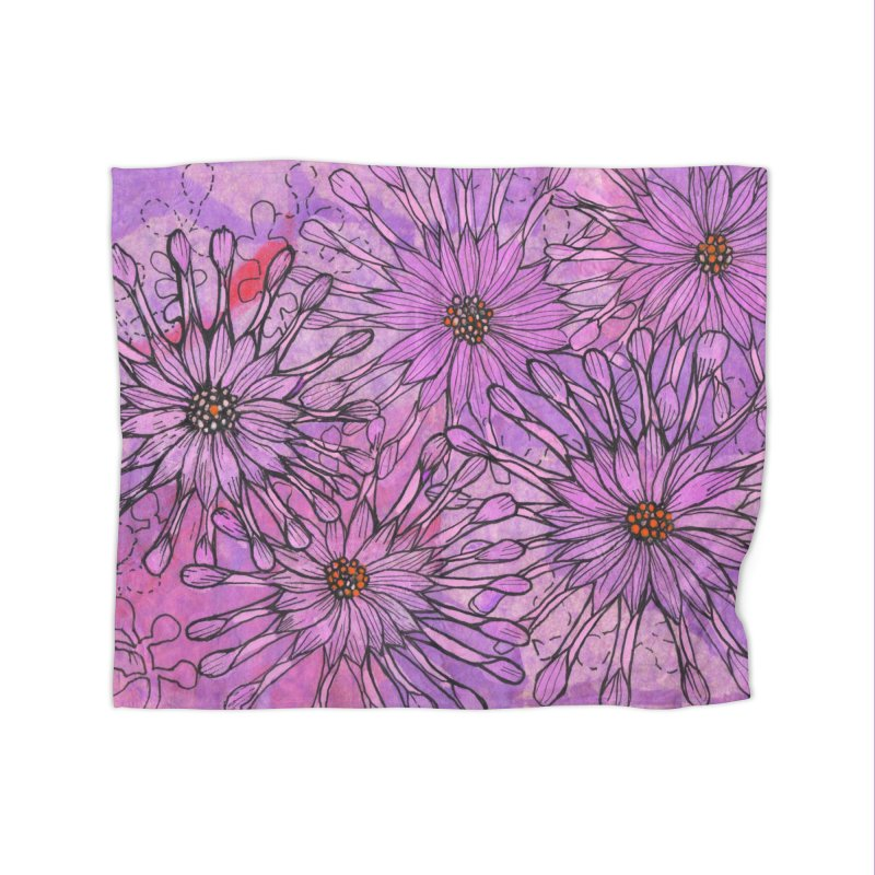 African Daisy, Pink Flowers, Tropical Floral Home Blanket by Clipso-Callipso