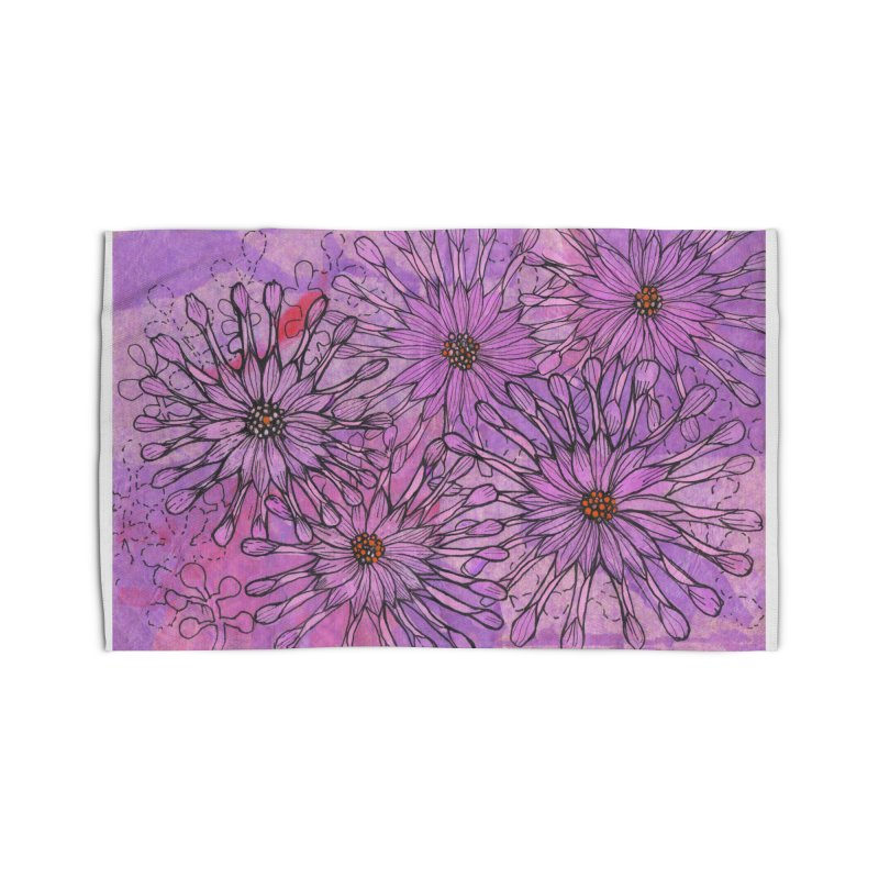 African Daisy, Pink Flowers, Tropical Floral Home Rug by Clipso-Callipso