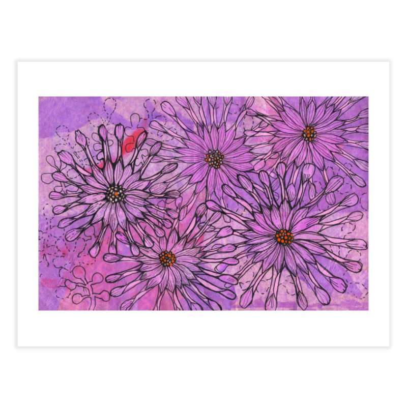 African Daisy, Pink Flowers, Tropical Floral Home Fine Art Print by Clipso-Callipso