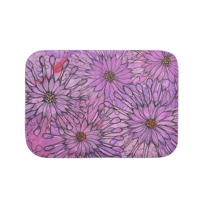 African Daisy, Pink Flowers, Tropical Floral Home Bath Mat by Clipso-Callipso