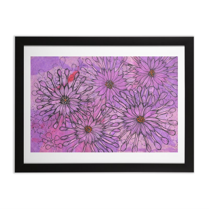 African Daisy, Pink Flowers, Tropical Floral Home Framed Fine Art Print by Clipso-Callipso
