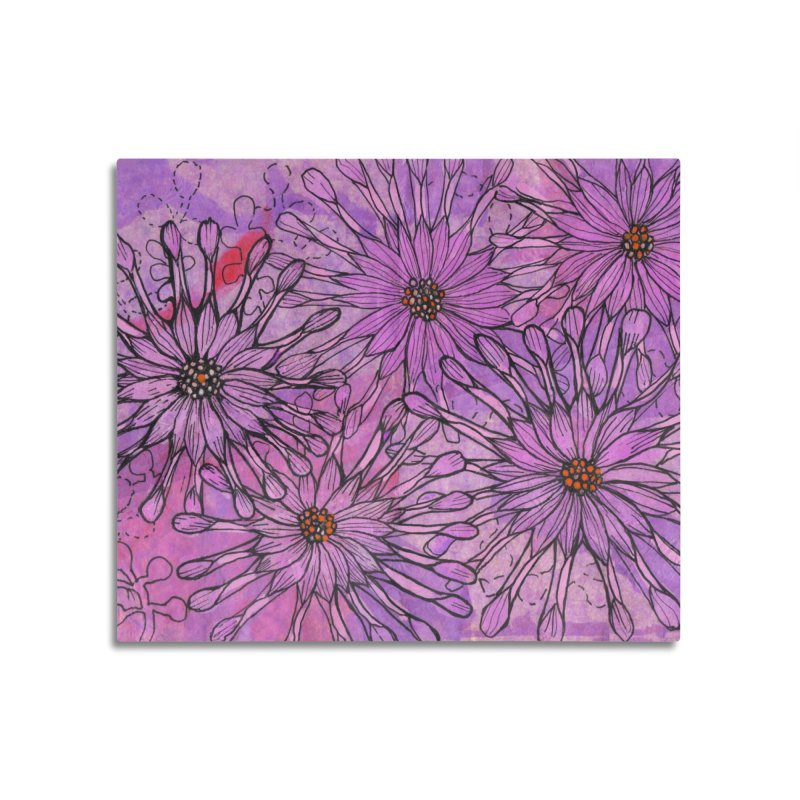 African Daisy, Pink Flowers, Tropical Floral Home Mounted Aluminum Print by Clipso-Callipso