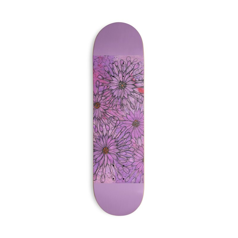 African Daisy, Pink Flowers, Tropical Floral Accessories Skateboard by Clipso-Callipso