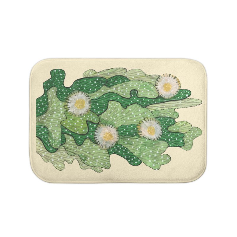 Blooming Cacti, Succulent Flowers, Green White Home Bath Mat by Clipso-Callipso