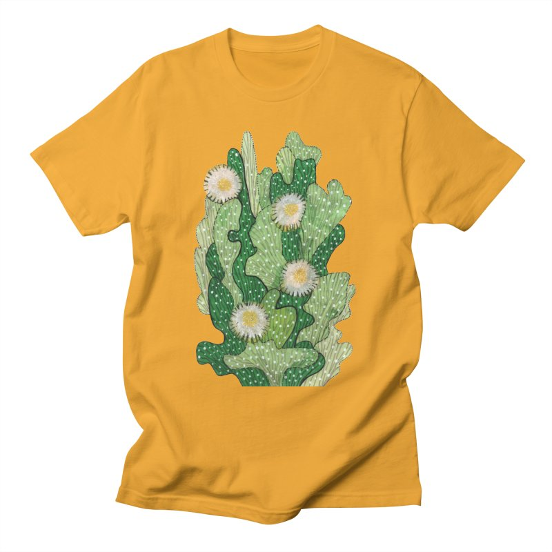 Blooming Cacti, Succulent Flowers, Green White Men's T-Shirt by Clipso-Callipso