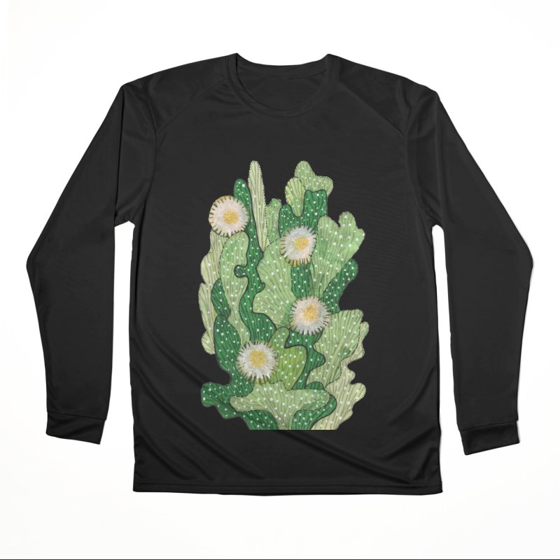 Blooming Cacti, Succulent Flowers, Green White Women's Longsleeve T-Shirt by Clipso-Callipso