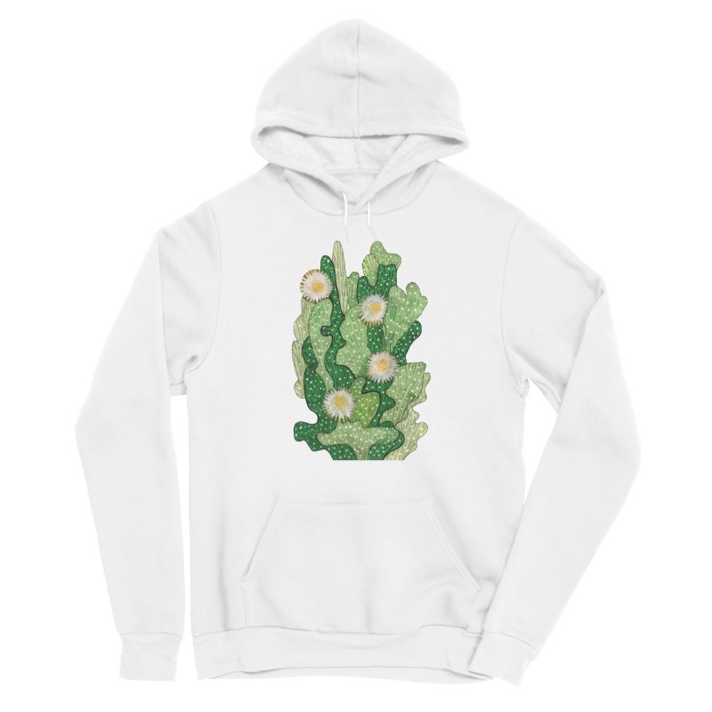 Blooming Cacti, Succulent Flowers, Green White Women's Pullover Hoody by Clipso-Callipso