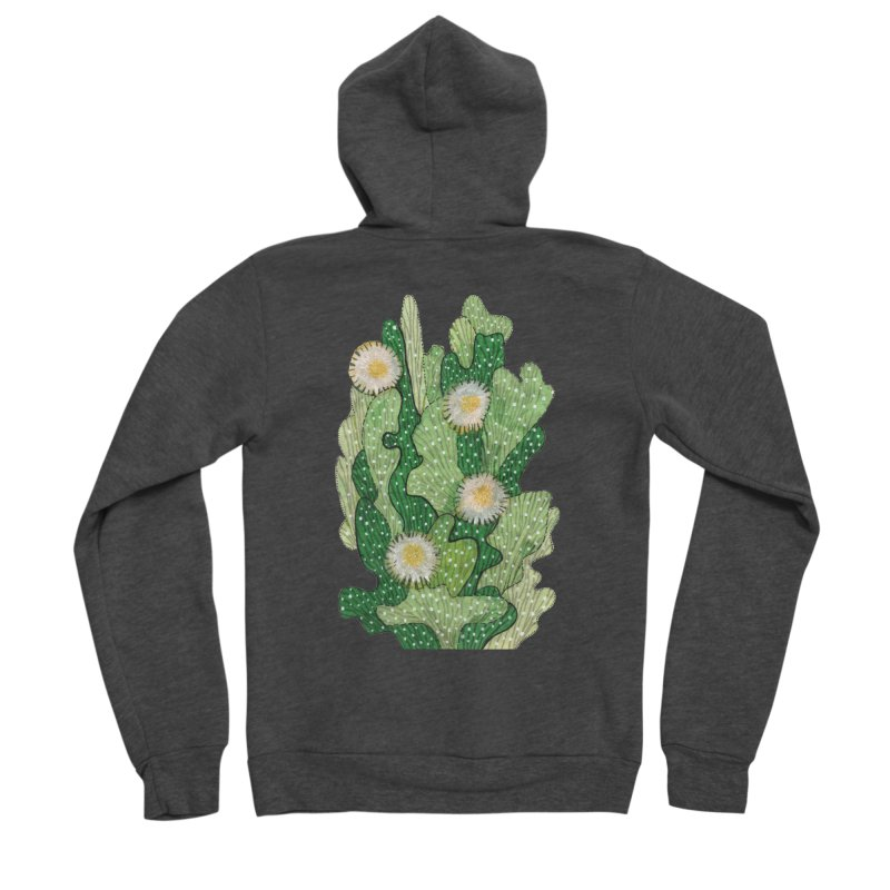 Blooming Cacti, Succulent Flowers, Green White Men's Zip-Up Hoody by Clipso-Callipso