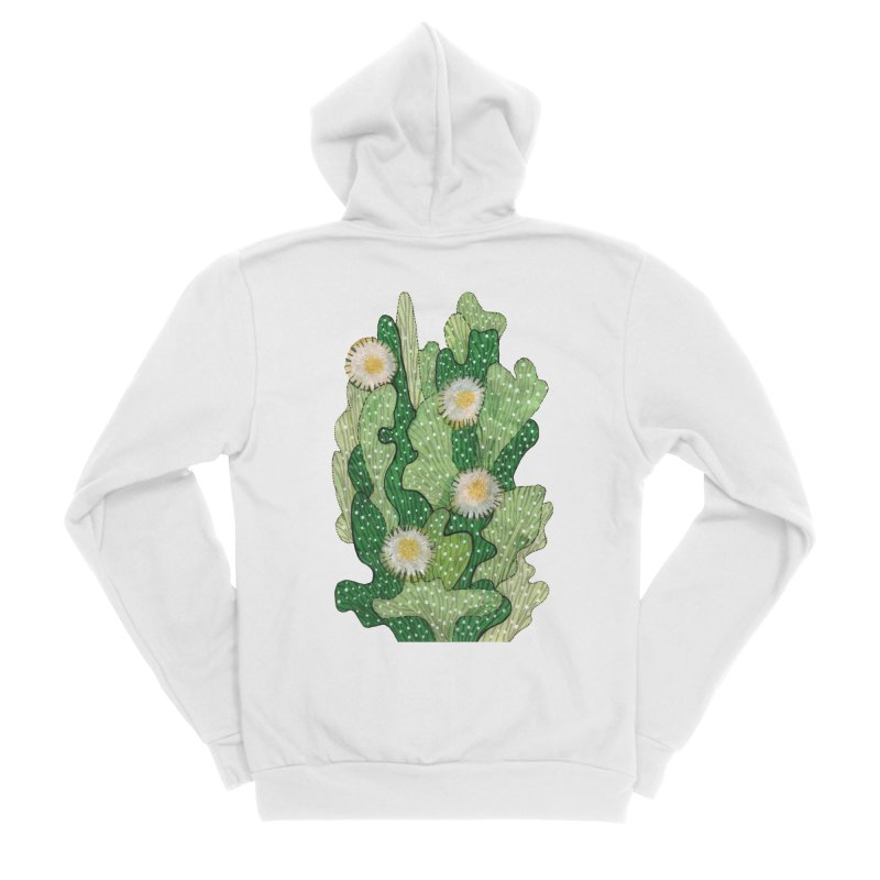 Blooming Cacti, Succulent Flowers, Green White Women's Zip-Up Hoody by Clipso-Callipso