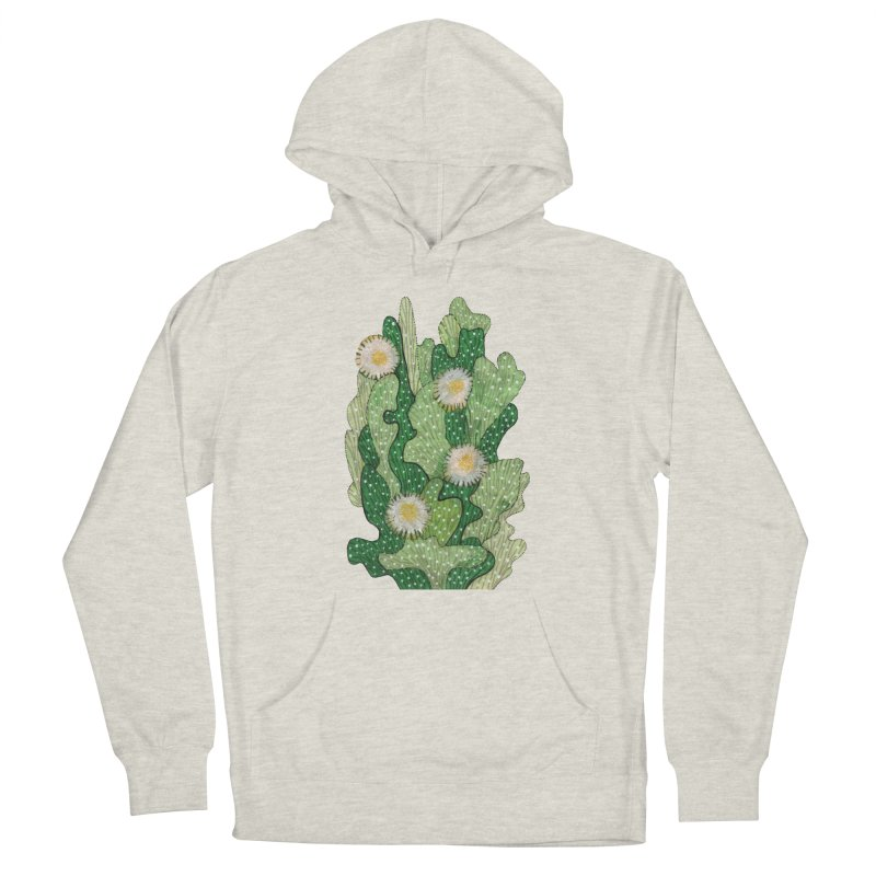 Blooming Cacti, Succulent Flowers, Green White Men's Pullover Hoody by Clipso-Callipso