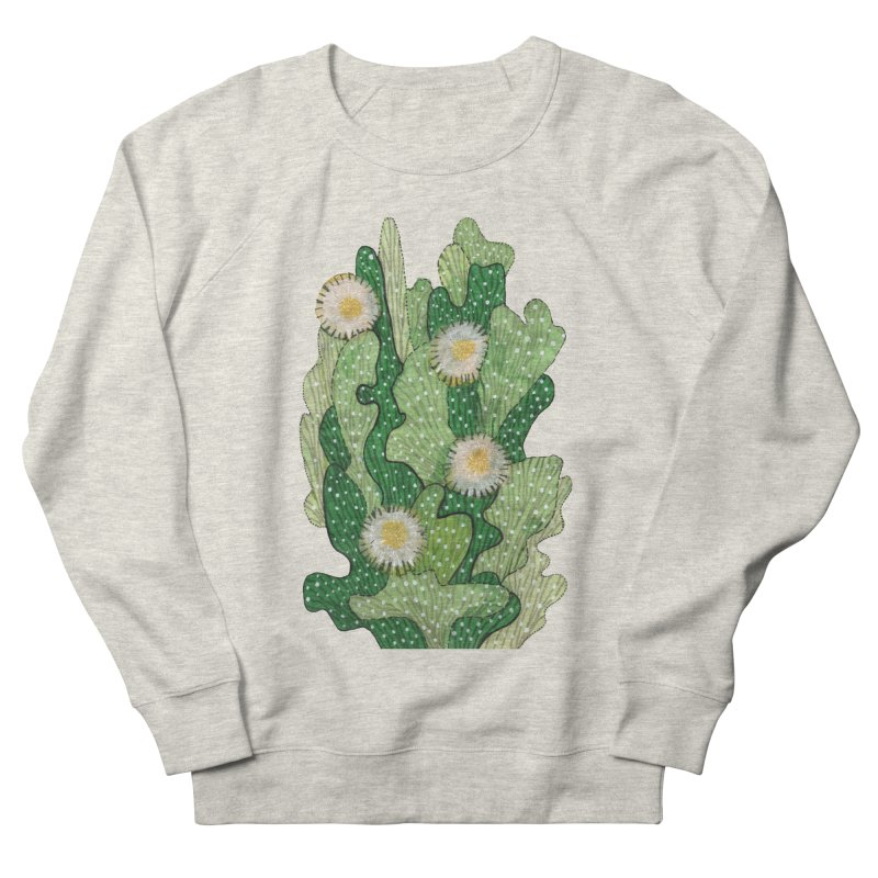 Blooming Cacti, Succulent Flowers, Green White Men's Sweatshirt by Clipso-Callipso