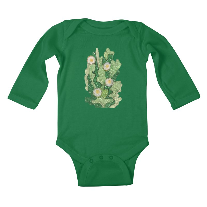 Blooming Cacti, Succulent Flowers, Green White Kids Baby Longsleeve Bodysuit by Clipso-Callipso