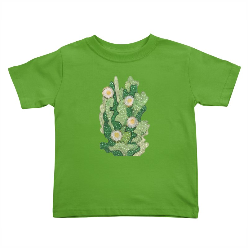 Blooming Cacti, Succulent Flowers, Green White Kids Toddler T-Shirt by Clipso-Callipso