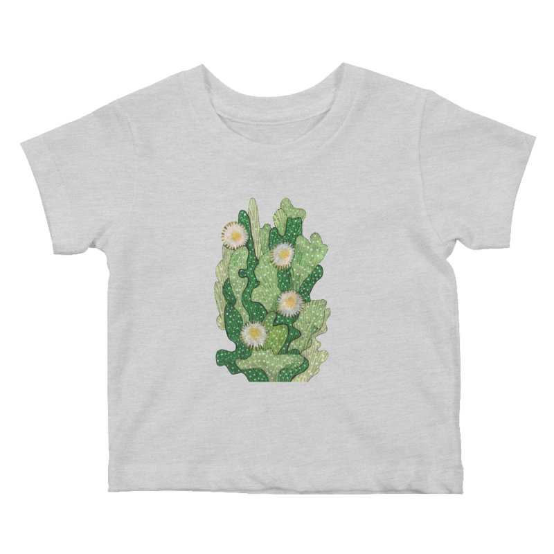 Blooming Cacti, Succulent Flowers, Green White Kids Baby T-Shirt by Clipso-Callipso