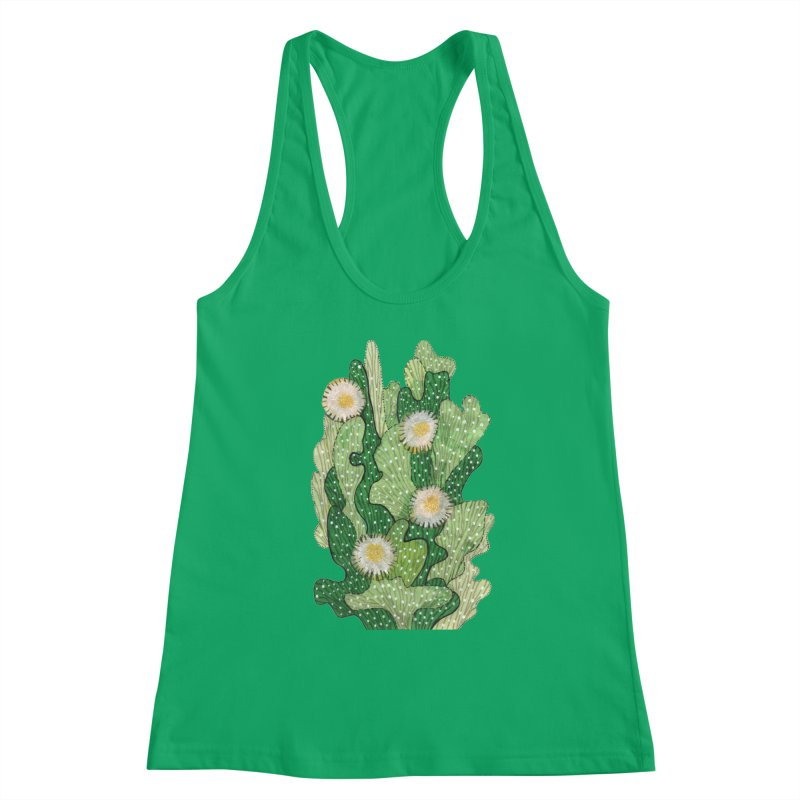 Blooming Cacti, Succulent Flowers, Green White Women's Tank by Clipso-Callipso