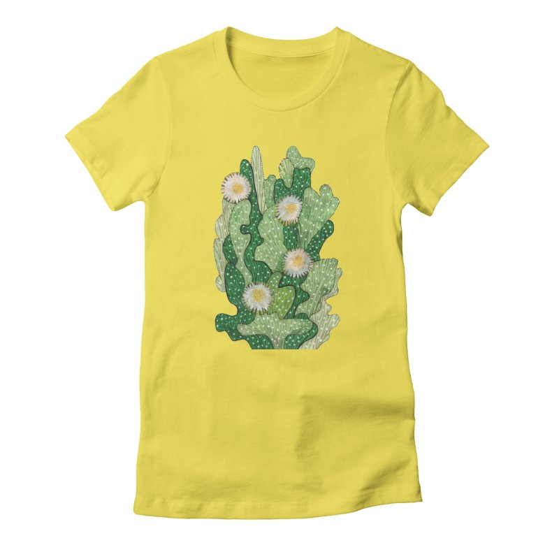 Blooming Cacti, Succulent Flowers, Green White Women's T-Shirt by Clipso-Callipso