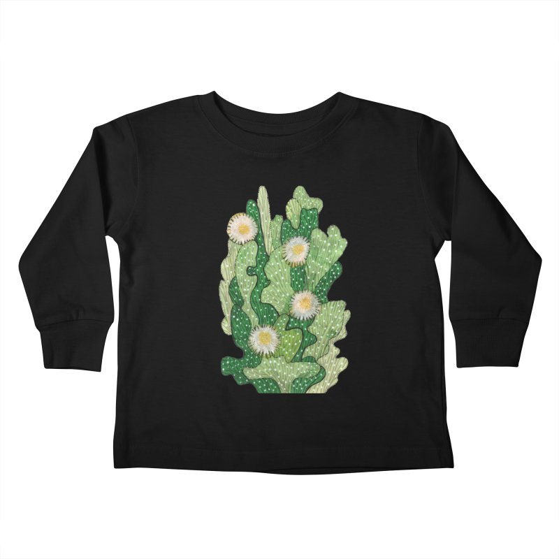 Blooming Cacti, Succulent Flowers, Green White Kids Toddler Longsleeve T-Shirt by Clipso-Callipso