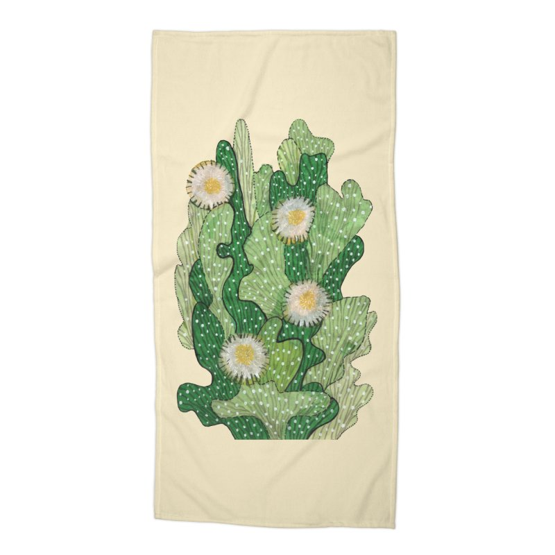 Blooming Cacti, Succulent Flowers, Green White Accessories Beach Towel by Clipso-Callipso