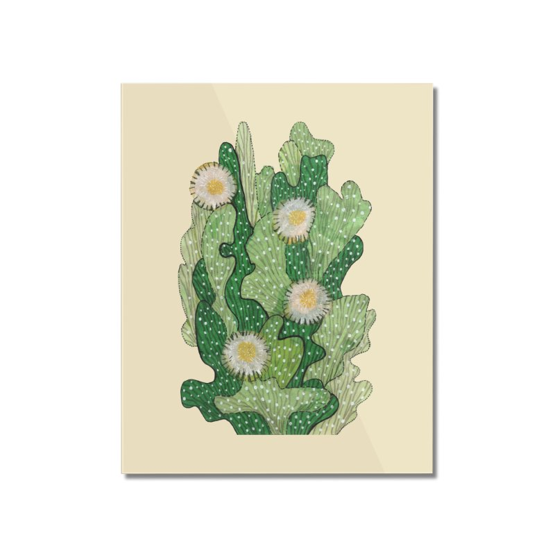 Blooming Cacti, Succulent Flowers, Green White Home Mounted Acrylic Print by Clipso-Callipso