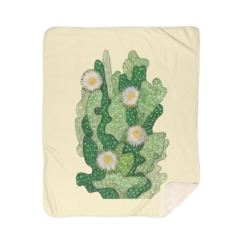 Blooming Cacti, Succulent Flowers, Green White Home Blanket by Clipso-Callipso
