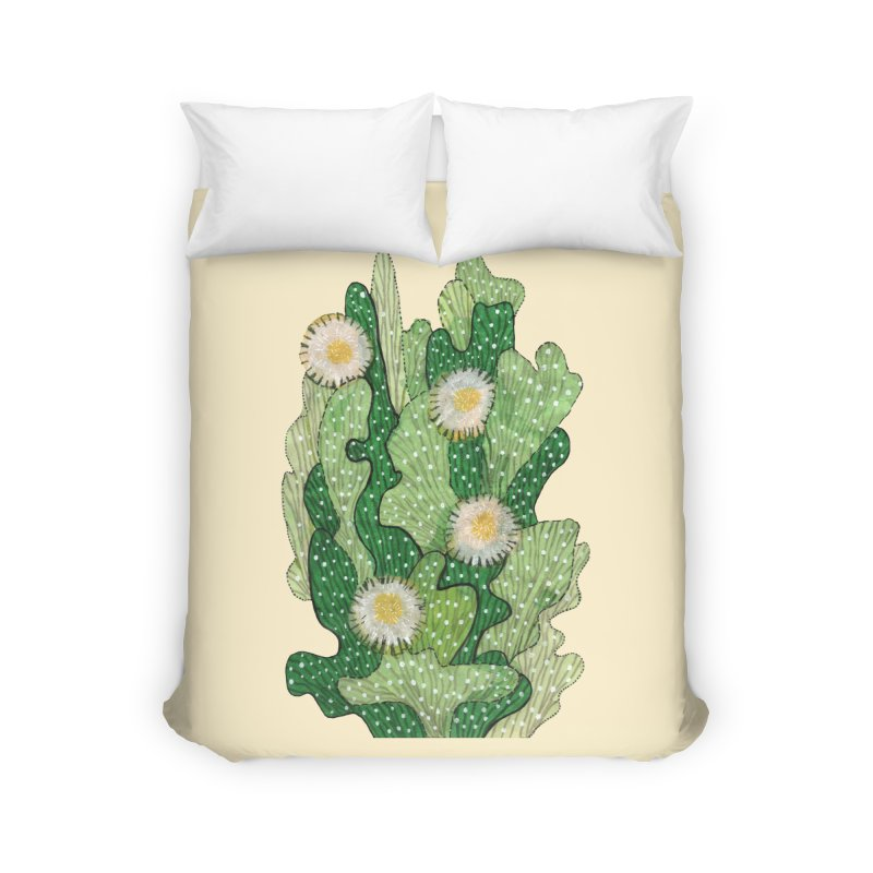 Blooming Cacti, Succulent Flowers, Green White Home Duvet by Clipso-Callipso