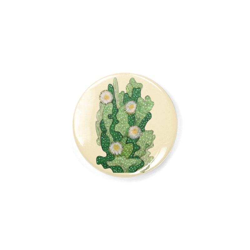 Blooming Cacti, Succulent Flowers, Green White Accessories Button by Clipso-Callipso