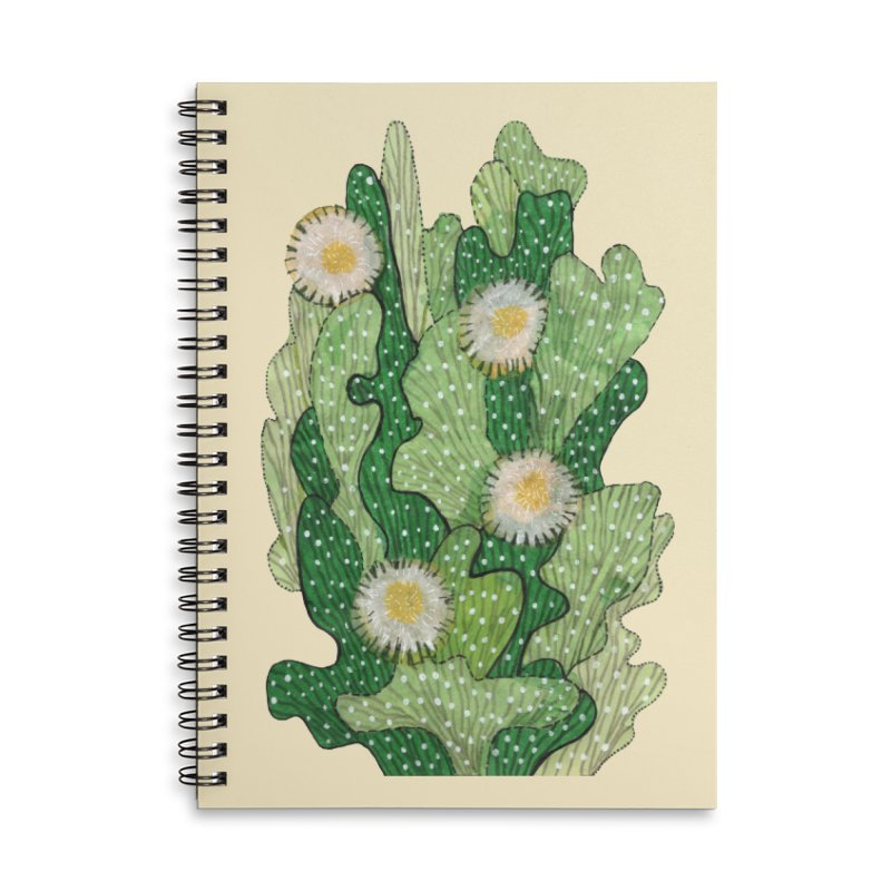Blooming Cacti, Succulent Flowers, Green White Accessories Notebook by Clipso-Callipso