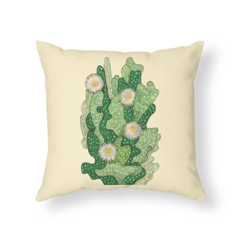 Blooming Cacti, Succulent Flowers, Green White Home Throw Pillow by Clipso-Callipso