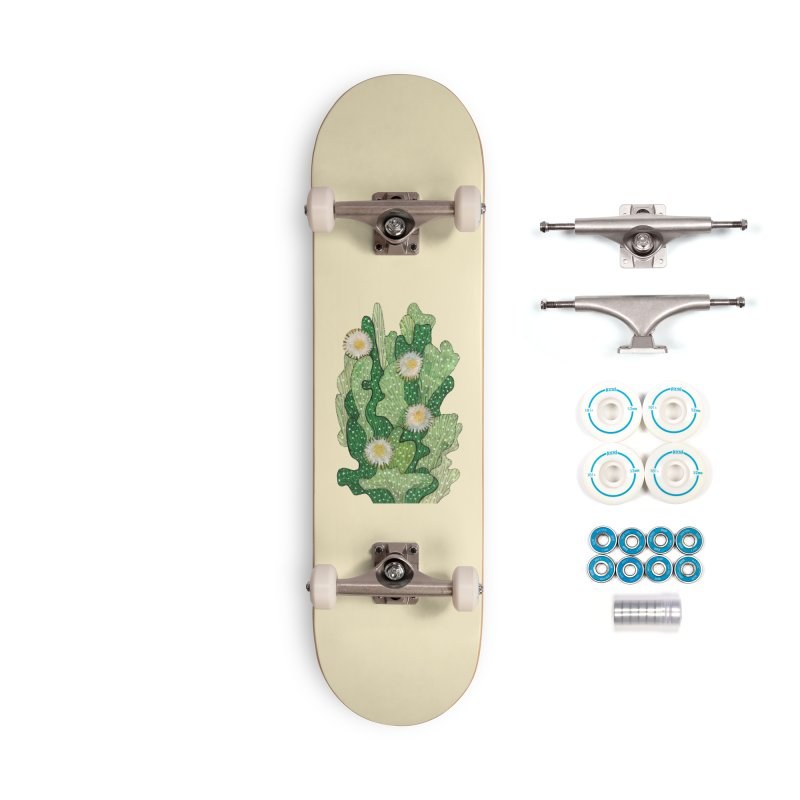 Blooming Cacti, Succulent Flowers, Green White Accessories Skateboard by Clipso-Callipso