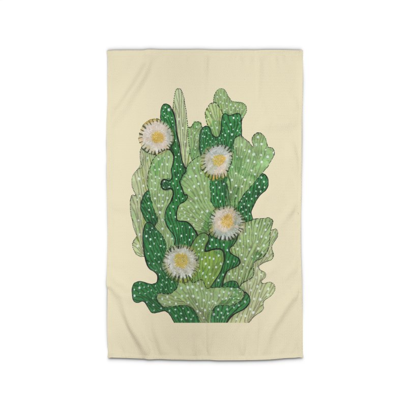 Blooming Cacti, Succulent Flowers, Green White Home Rug by Clipso-Callipso