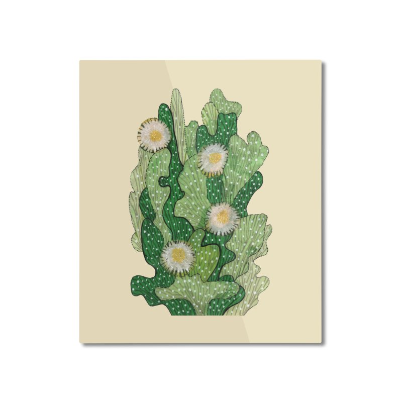 Blooming Cacti, Succulent Flowers, Green White Home Mounted Aluminum Print by Clipso-Callipso