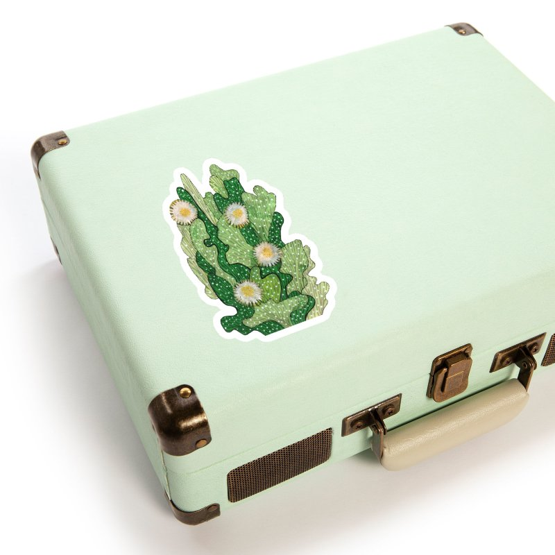 Blooming Cacti, Succulent Flowers, Green White Accessories Sticker by Clipso-Callipso