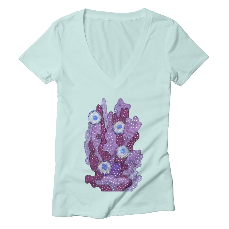 Blooming Cactus, Succulent Flowers, Purple Violet Women's V-Neck by Clipso-Callipso