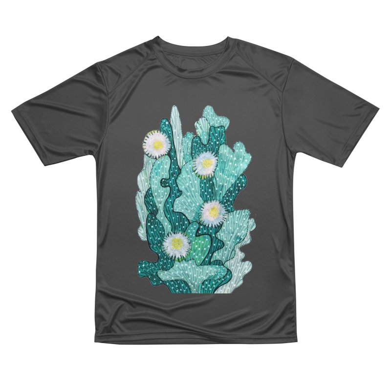 Blooming Cactus, Succulent Flowers, Teal Turquoise Men's T-Shirt by Clipso-Callipso