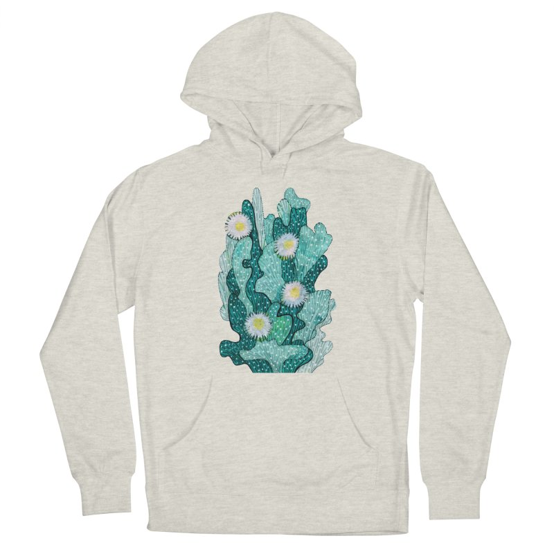 Blooming Cactus, Succulent Flowers, Teal Turquoise Men's Pullover Hoody by Clipso-Callipso
