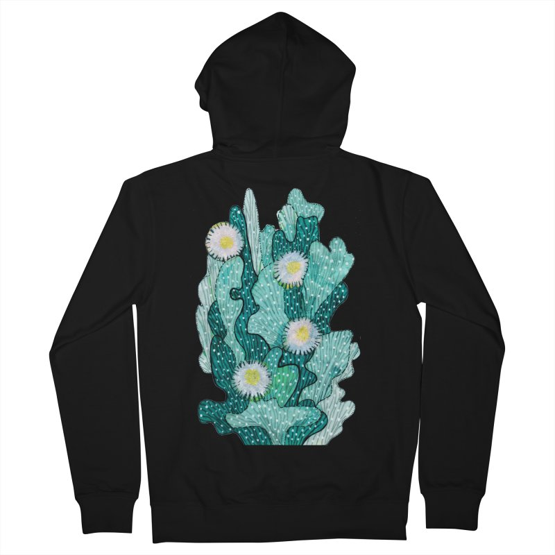 Blooming Cactus, Succulent Flowers, Teal Turquoise Women's Zip-Up Hoody by Clipso-Callipso