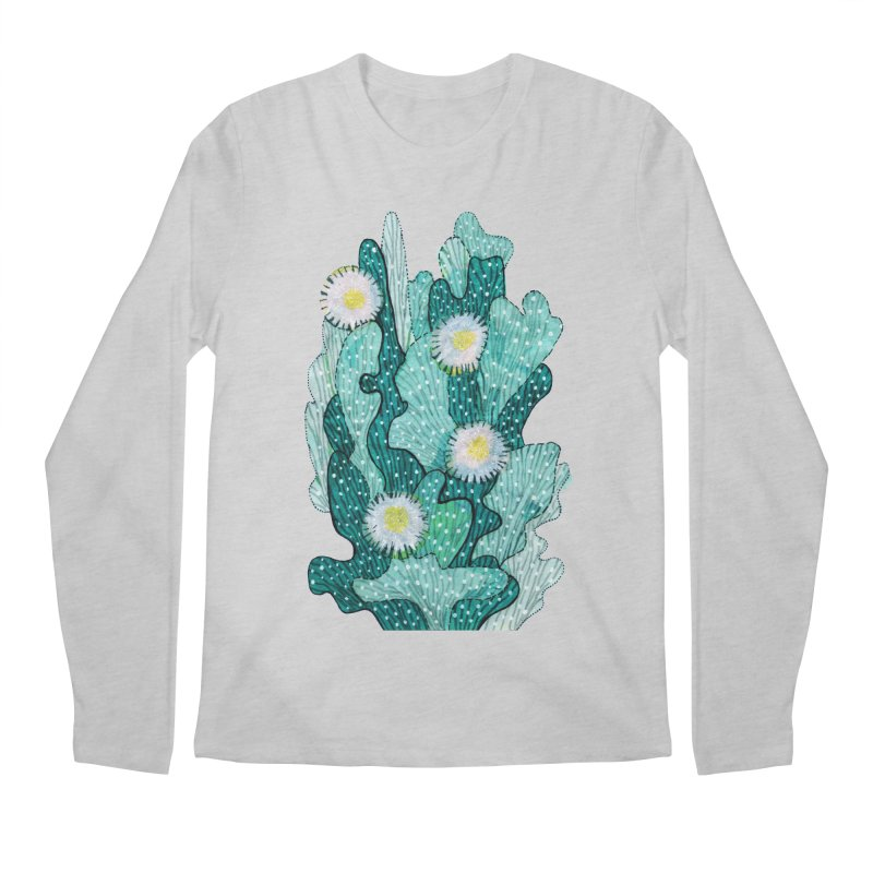 Blooming Cactus, Succulent Flowers, Teal Turquoise Men's Longsleeve T-Shirt by Clipso-Callipso
