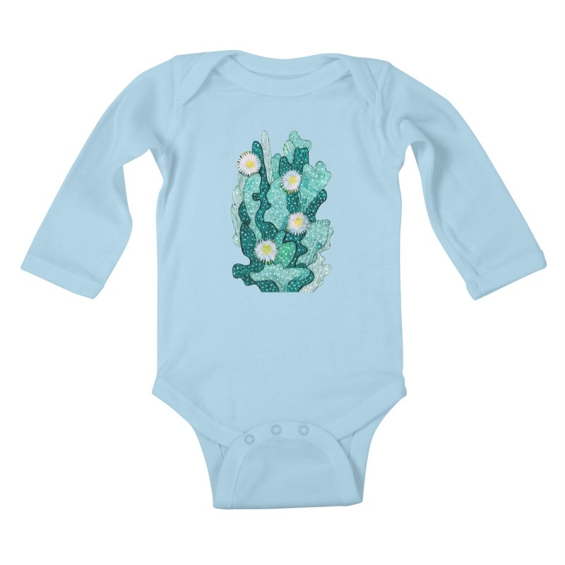 Blooming Cactus, Succulent Flowers, Teal Turquoise Kids Baby Longsleeve Bodysuit by Clipso-Callipso