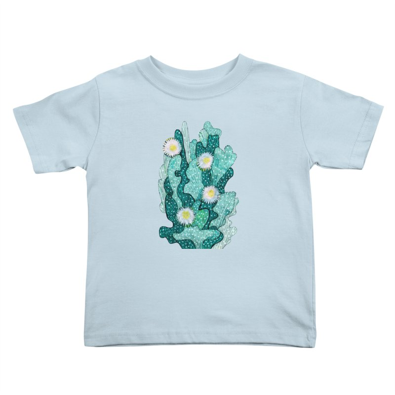 Blooming Cactus, Succulent Flowers, Teal Turquoise Kids Toddler T-Shirt by Clipso-Callipso