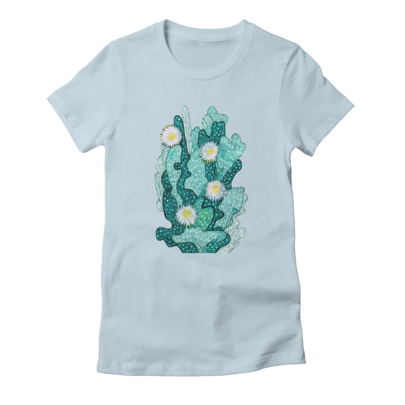 Blooming Cactus, Succulent Flowers, Teal Turquoise Women's T-Shirt by Clipso-Callipso