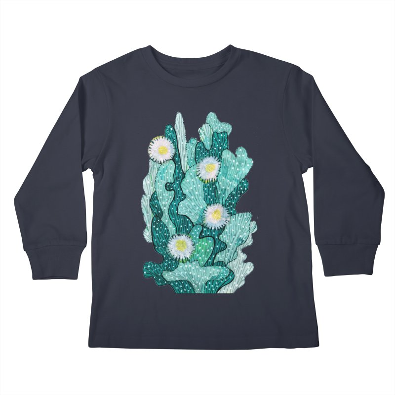Blooming Cactus, Succulent Flowers, Teal Turquoise Kids Longsleeve T-Shirt by Clipso-Callipso