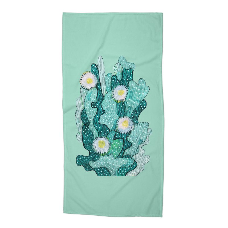 Blooming Cactus, Succulent Flowers, Teal Turquoise Accessories Beach Towel by Clipso-Callipso