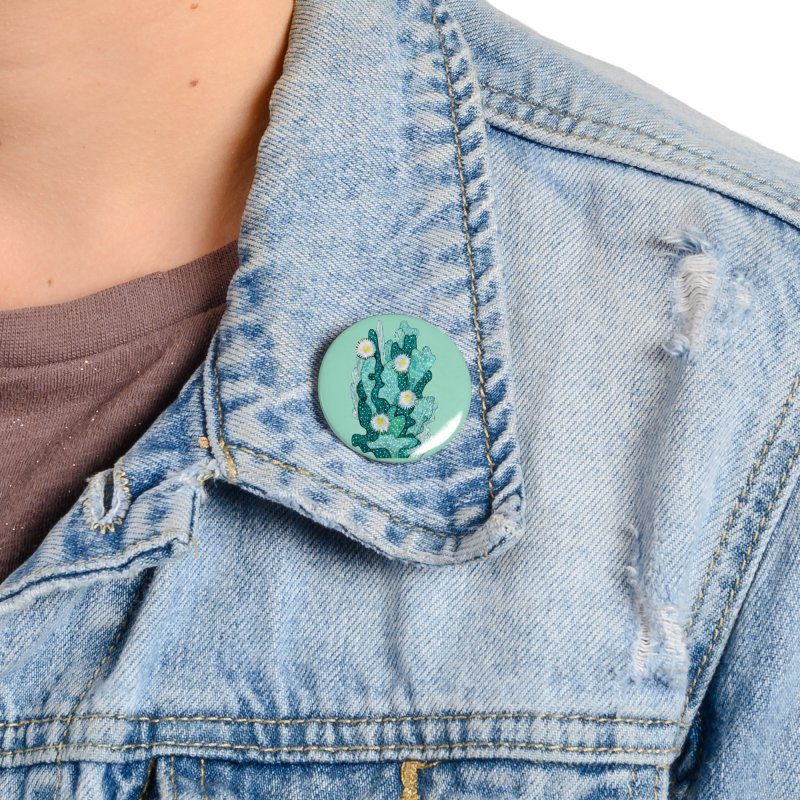 Blooming Cactus, Succulent Flowers, Teal Turquoise Accessories Button by Clipso-Callipso